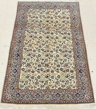 """Hand Knotted New Nain Wool Silk Ivory Deer Birds Fine Oriental Rug 5'4"""" x 8'6"""""""