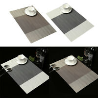 EE_ AM_ 4Pcs Stripe PVC Rectangle Placemat Insulated Dining Table Mat Home Decor