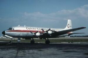 35mm Aircraft Slide Caicos Caribbean Airways N43867 Douglas DC-6 1987
