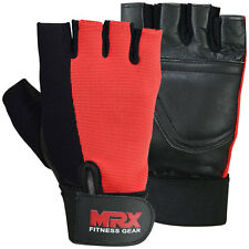 Weight Lifting Gloves Leather Fitness Training Gym Straps Workout Black / Red, L