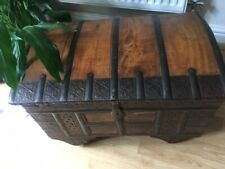 More details for old indian dowry chest, wood with metal straps and panels ~ super condition