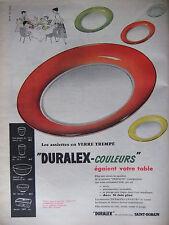 PUBLICITÉ DE PRESSE 1956 DURALEX LES ASSIETTES EN VERRE TREMPÉ - ADVERTISING