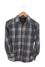 VOLCOM Button Down Shirt Boys Medium Blue Plaid Woven Top Long Sleeve