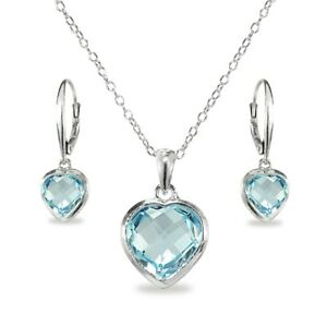 Sterling Silver Blue Topaz Bezel-Set Heart Necklace and Dangle Earrings set