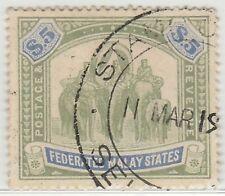 MALAYA 1908 FMS Elephants & Howdah $5 used wmk MCCA SG #50 CV £160 M1309
