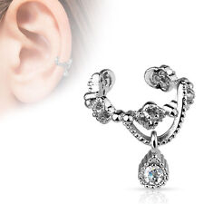 Chain with CZ Dangle Rhodium Plated Brass Non Piercing Cartilage Ear Cuff Ring
