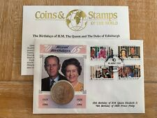 TURKS & CAICOS 1991 FDC COIN 1 CROWN QUEEN ELIZABETH 2 PRINCE PHILIP 65TH & 70TH
