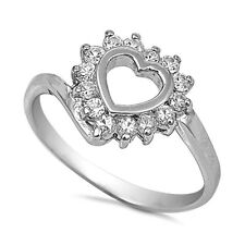 .925 Sterling Silver Ring size 9 CZ Round cut Heart Midi Knuckle Ladies New x35