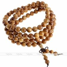 """Natural Raja Kayu Wood 108 Beads Buddha Prayer Mala Necklace 4-Row Bracelet 32""""-"""
