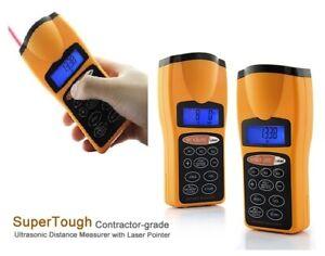 Ultrasonic LCD Sonic Distance Tape Measure Meter Laser Pointer Measure + Battery