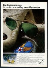 1980 Ray Ban green aviator sunglasses airborne type patch photo vintage print ad