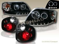 01-03 FORD F-150 FLARESIDE TWO HALO LED PROJECTOR HEADLIGHTS + TAIL LIGHTS BLK