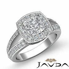 Lustrous Cushion Diamond Split Shank Engagement Ring GIA I SI1 Platinum 1.6 ct