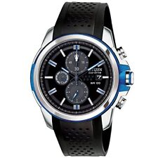 Mens Citizen Eco-Drive AR Black Rubber Chronograph 100M Divers Watch CA0421-04E