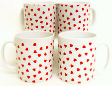Love Hearts Mugs Set 4 Red Hearts Porcelain Mugs Hand Decorated in the UK