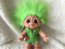 "1988 6.5"" Dam Girl Troll. Green Hair. Neon Green Dress. Denmark"