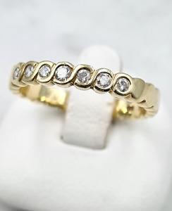 Brillant-Ring - 585er Gelb-Gold - 7 Brillanten , 0.14 ct. - Ring-Gr.: 51