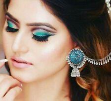 Oxidized Chain Jhumka Jhumki Earrings Indian Bahubali Wedding Bollywood Silver