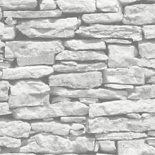 Tapete marokkanische Mauer weiß grauer Schiefer Mauerstein Ziegelstein Wanddeko