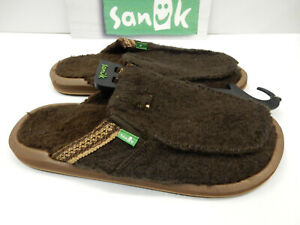 Sanuk Mens Sidewalk Surfers You Got My Back Chill Brown What The Fuzz Size 9