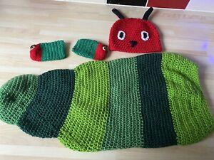 Crochet Hungry Caterpillar Cocoon Hat Booties Photo shoot Props Newborn 0-3 M