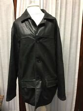 BLACK LEATHER COAT JACKET Reeds Sportswear Size M Pockets In And Out