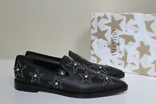 New sz 9.5 / 40 Valentino Black Leather Star Studded Loafer Flat Slip on Shoes
