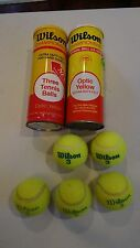 Vintage lot of 2 Can 5 Wilson Championship Tennis Balls Optic Yellow Free Ship