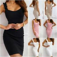 Womens Summer Strappy Dress Ladies Plain Cocktail Party Mini Dress Bodycon New