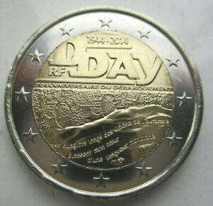 France WWII, 2 Euro, D-Day, 2014, KM 2174, BUNC from the roll, Bi-Metallic  DD5