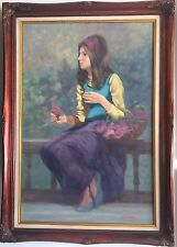 Philippe Alfieri Oil On Canvas Painting Young Girl With The Rose Circa 1970