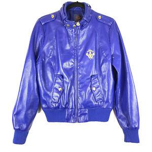 Dereon Faux / Vegan Leather Biker Jacket Size L Royal Blue Moto / Racer