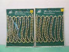 New: 2 Vintage Gold Mr Christmas Single Plastic Bead Christmas Tree Garland