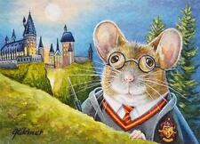 40% OFF SALE! ACEO Limited Edition Print Mouse Wizard Harry Potter Hogwarts