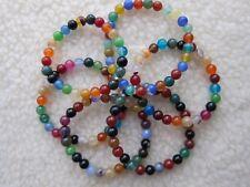 Multi-colour Rainbow Agate & Jade Gem-stones Beaded Bracelet - Unisex.