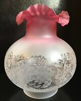 "4"" Fitter CRANBERRY TINTED SCALLOPED ETCHED FILIGREE GLASS GAS GLOBE LAMP SHADE"