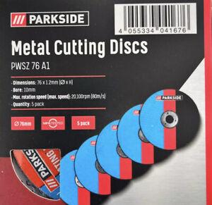5 X Parkside 76mm Metal Cutting Discs  PWSZ 76 A1 For Parkside 12v Angle Grinder