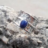 Lapis Lazuli Solid 925 Sterling Silver Spinner Ring Meditation Ring Size sr.001
