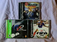 PlayStation 1 Video Game Lot of 3 Razor Racing Gran Turismo GT2 FIFA Soccer 2002