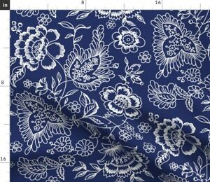 Flowers Floral Navy Ink Blue And White Toile Spoonflower Fabric by the Yard
