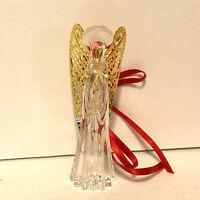 Gorham Crystal Christmas Ornament Nativity Praying Angel Gold Wings
