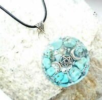necklace Orgonite Triple Moon Wicca pendant, Turquoise, energy protection