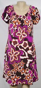 AB STUDIO Ivory Purple Orange Purple Floral Print Dress Small Short Sleeves