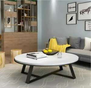 Aska Stainless Steel or Black Coffee Table W/ White Marble Top