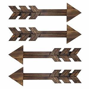 N/ A 4 PCS Rustic Wood Arrow Sign Wall Decor, Dark Wooden Arrows Farmhouse and