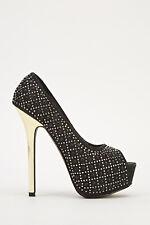 New Womens Studded Peep Toe High Heels Black Size UK 6.5