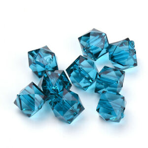 Teal Blue Acrylic Beads Faceted Cube 8mm Pack Of 100+
