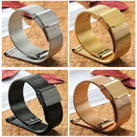 Men Women Solid Milanese Mesh Stainless Steel 14-22mm Strap with Quick Release