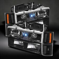94-99 Chevy C/K 1500 2500 3500 Tahoe Blk Projector Headlights+Corner+Bumper Lamp