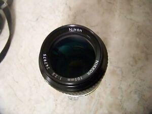 Nikon Nikkor 105mm 1:2.5 (Nikon F Mount) Manual Camera Lens Made In Japan